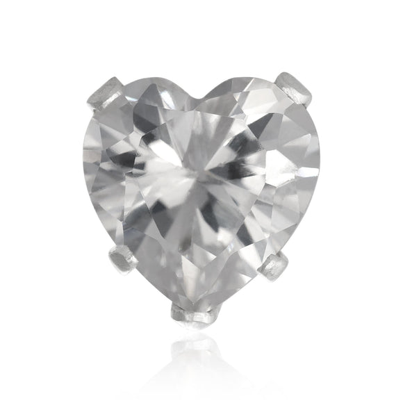 EZ-2200-C Heart CZ Stud Earrings 6mm - Clear | Teeda