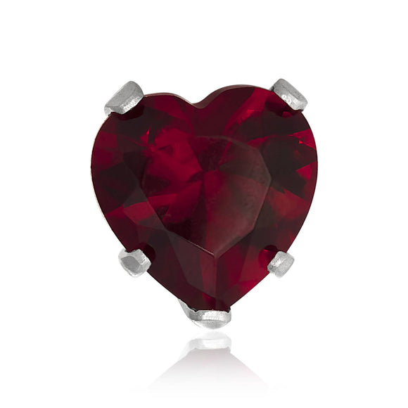 EZ-2210-GG Heart CZ Stud Earrings 7mm - Garnet | Teeda