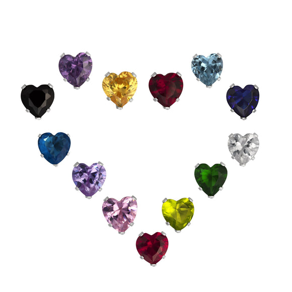 EZ-2210 Heart CZ Stud Earrings 7mm