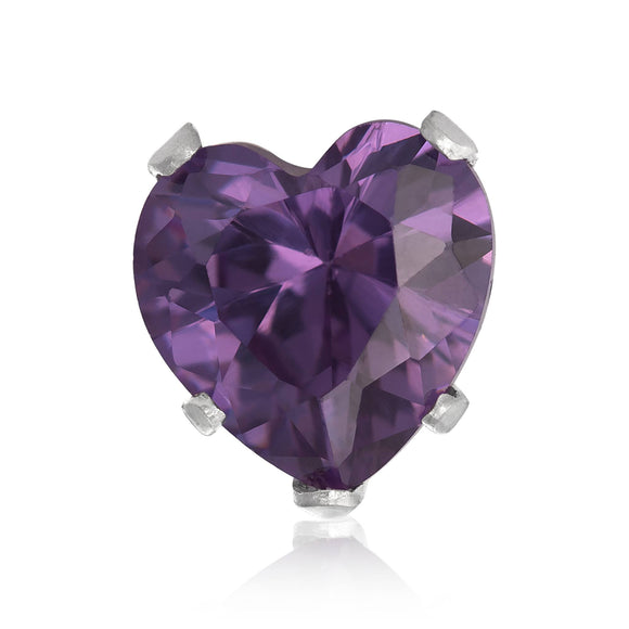 EZ-2220-AM Heart CZ Stud Earrings 8mm - Amethyst | Teeda