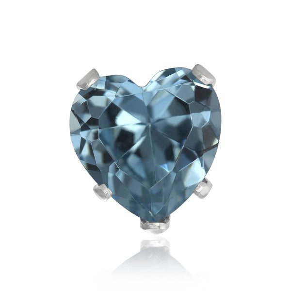 EZ-2220-AQ Heart CZ Stud Earrings 8mm - Aqua | Teeda