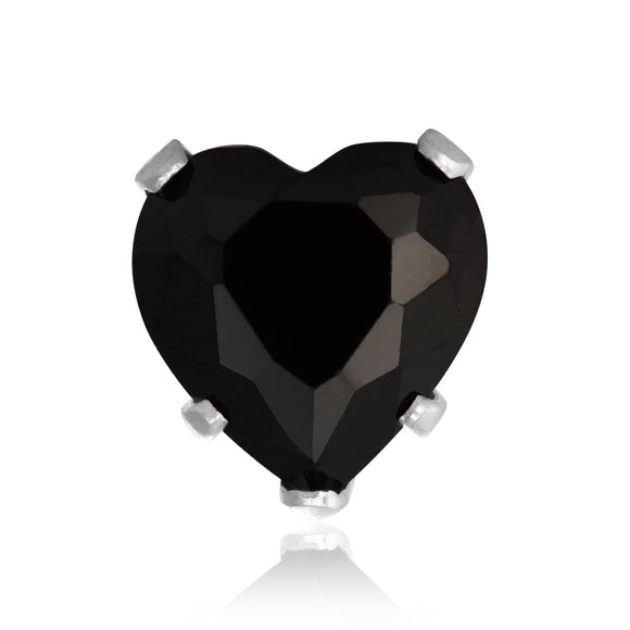 EZ-2220-B Heart CZ Stud Earrings 8mm - Black | Teeda