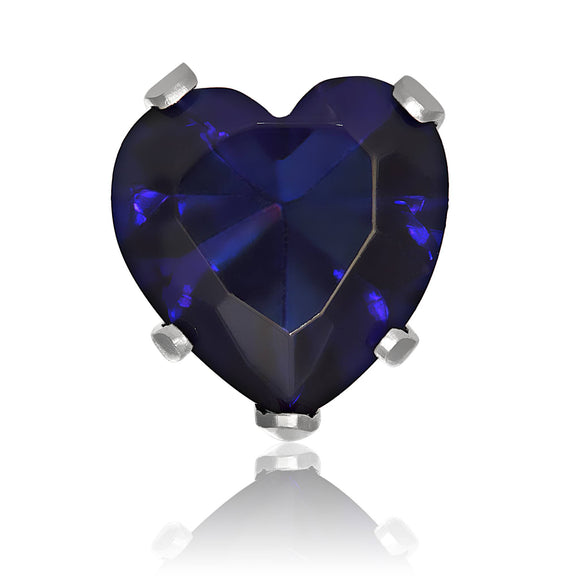 EZ-2220-BS Heart CZ Stud Earrings 8mm - Blue Sapphire | Teeda