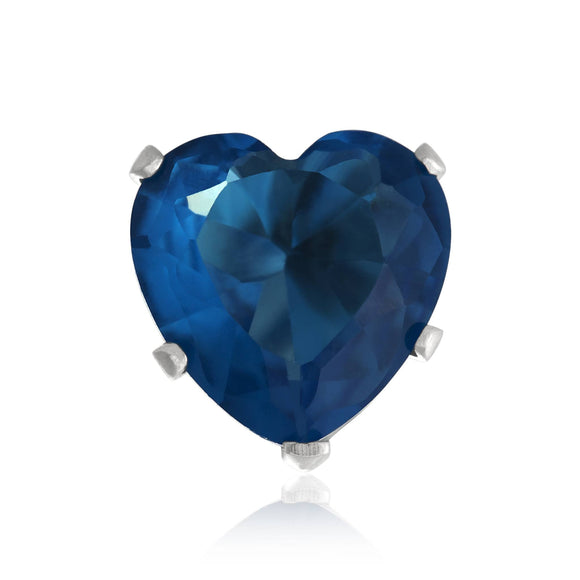 EZ-2220-BZ Heart CZ Stud Earrings 8mm - Blue Zircon | Teeda