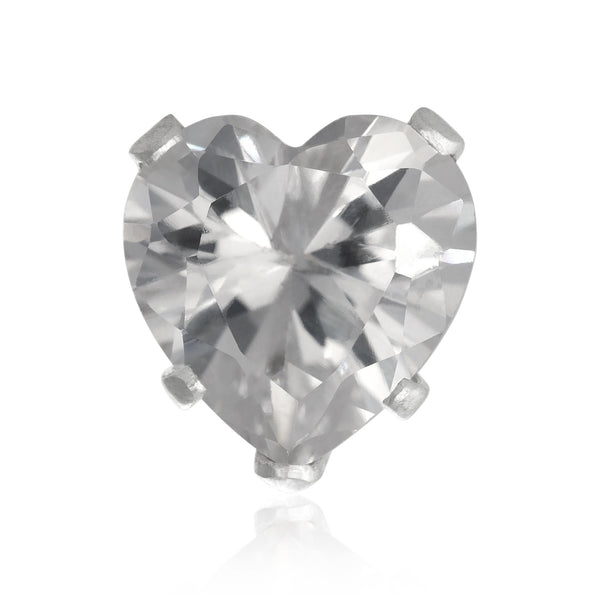 EZ-2220-C Heart CZ Stud Earrings 8mm - Clear | Teeda