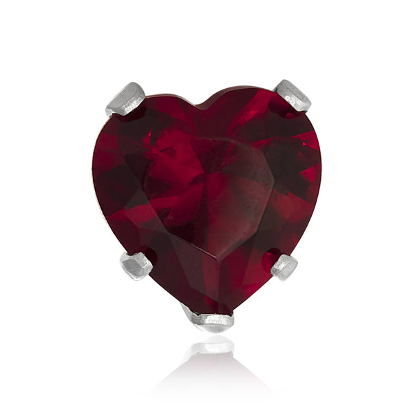 EZ-2220-GG Heart CZ Stud Earrings 8mm - Garnet | Teeda
