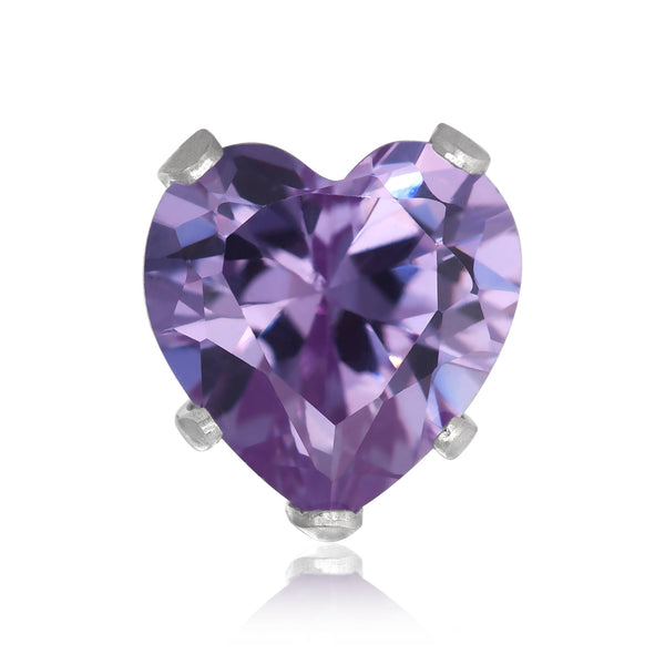 EZ-2220-L Heart CZ Stud Earrings 8mm - Lavender | Teeda