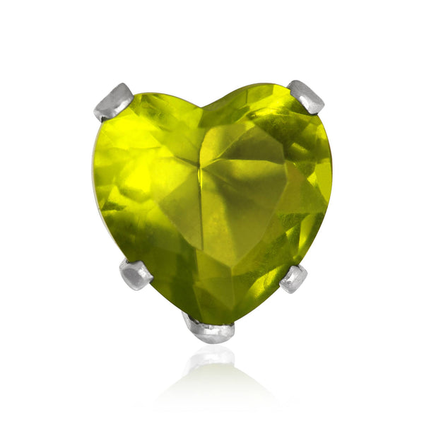 EZ-2220-PE Heart CZ Stud Earrings 8mm - Peridot | Teeda