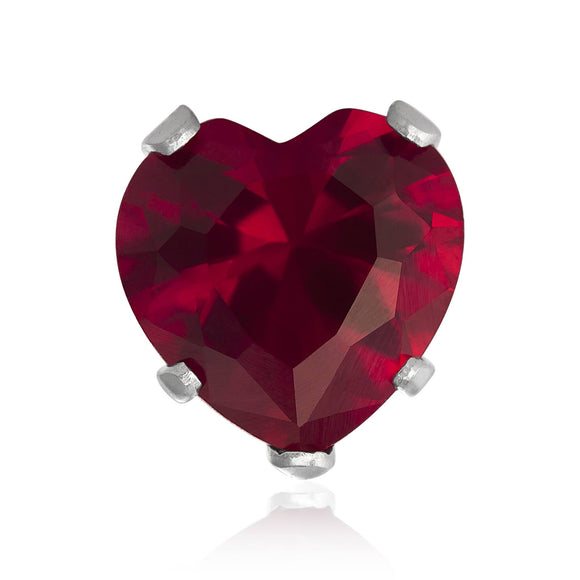 EZ-2220-SR Heart CZ Stud Earrings 8mm - Ruby | Teeda