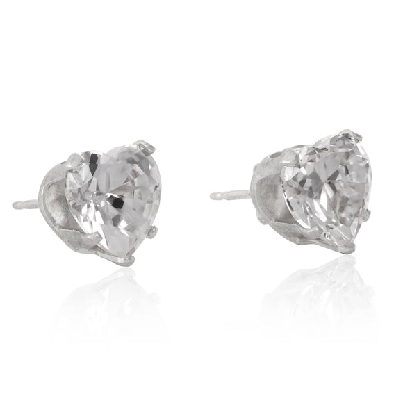 EZ-2220 Heart CZ Stud Earrings 8mm | Teeda