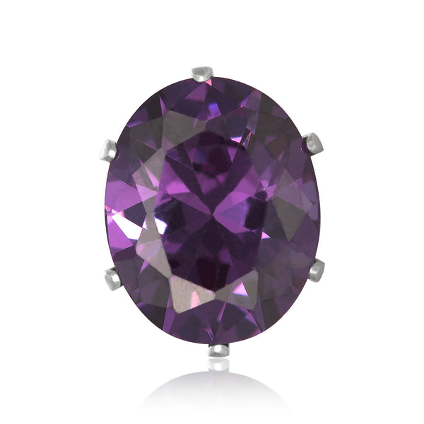 EZ-2224-AM Oval CZ Stud Earrings 6X4mm - Amethyst | Teeda