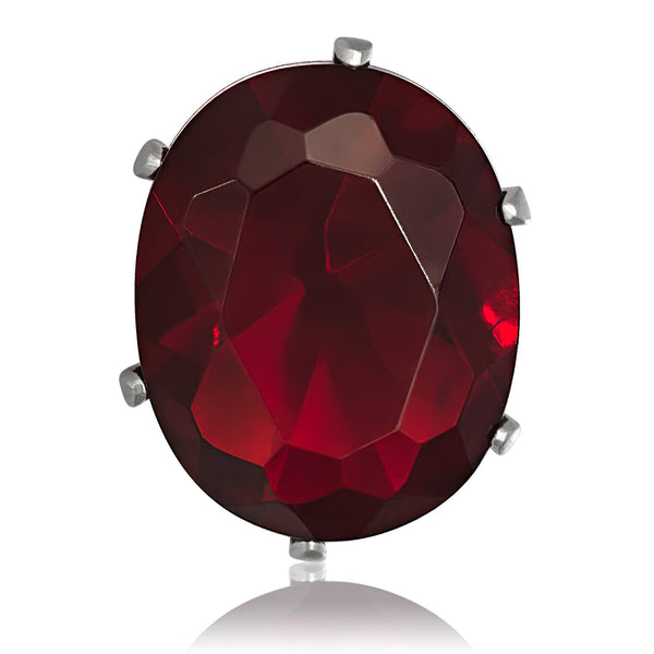 EZ-2224-GG Oval CZ Stud Earrings 6X4mm - Garnet | Teeda