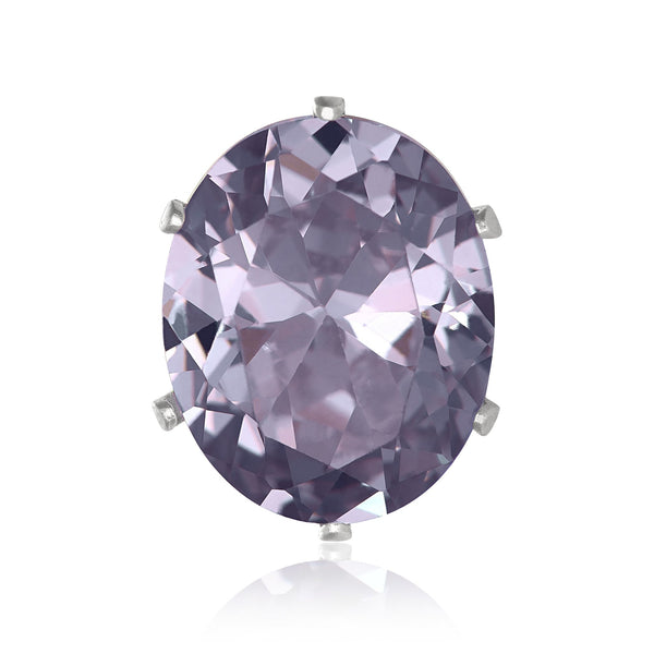 EZ-2224-L Oval CZ Stud Earrings 6X4mm - Lavender | Teeda