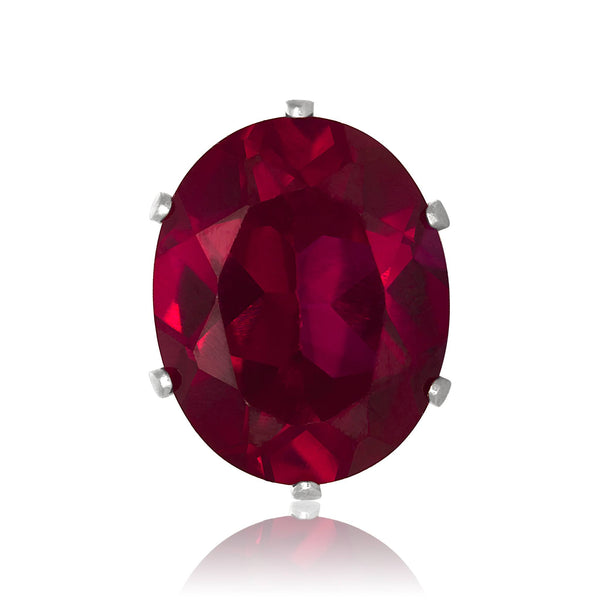 EZ-2224-SR Oval CZ Stud Earrings 6X4mm - Ruby | Teeda