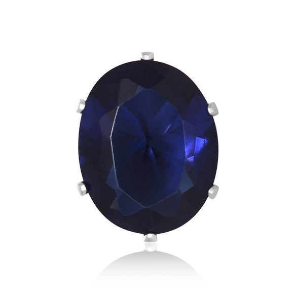 EZ-2240-BS Oval CZ Stud Earrings 9X7mm - Blue Sapphire | Teeda