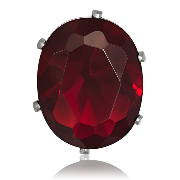 EZ-2240-GG Oval CZ Stud Earrings 9X7mm - Garnet | Teeda