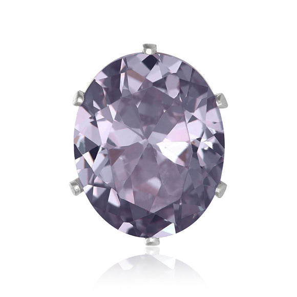 EZ-2240-L Oval CZ Stud Earrings 9X7mm - Lavender | Teeda