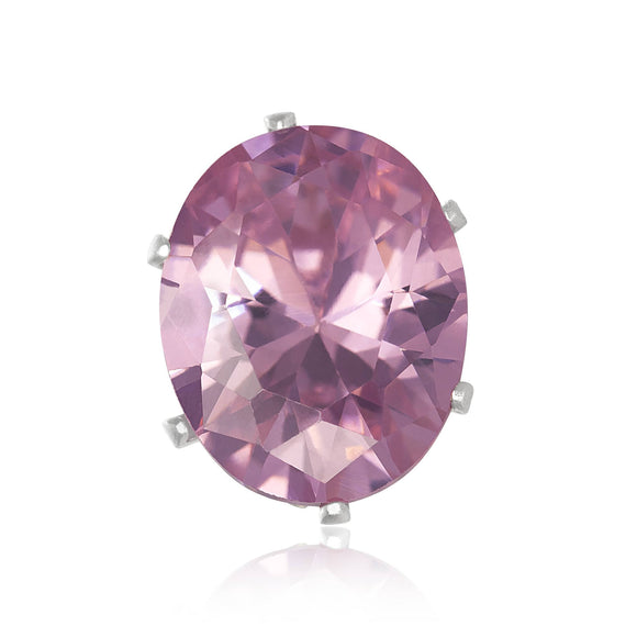 EZ-2240-P Oval CZ Stud Earrings 9X7mm - Pink | Teeda