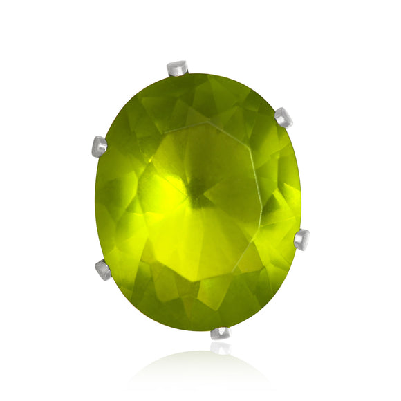 EZ-2240-PE Oval CZ Stud Earrings 9X7mm - Peridot | Teeda