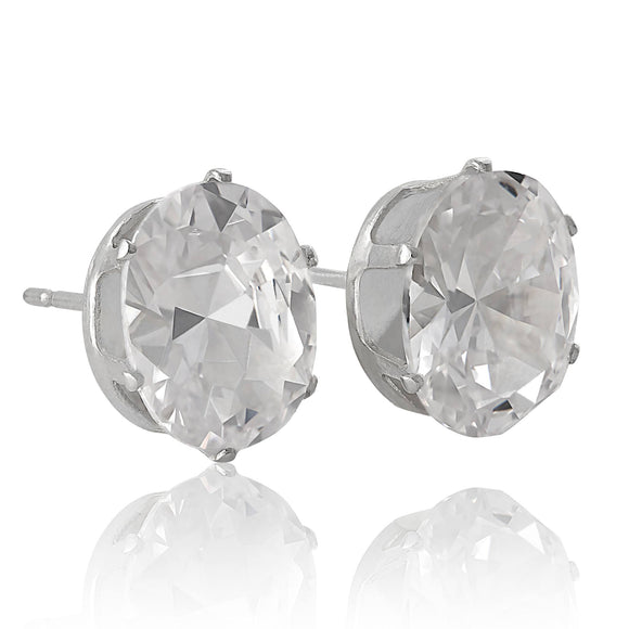 EZ-2240 Oval CZ Stud Earrings 9x7mm | Teeda