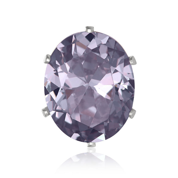 EZ-2250-L Oval CZ Stud Earrings 10X8mm - Lavender | Teeda