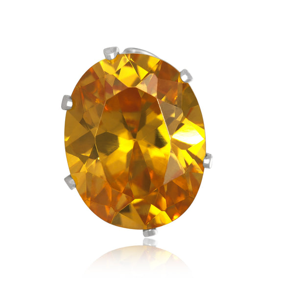 EZ-2250-Y Oval CZ Stud Earrings 10X8mm - Yellow Citrine | Teeda