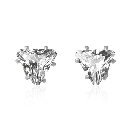EZ-2280 Triangle CZ Stud Earrings 6mm | Teeda