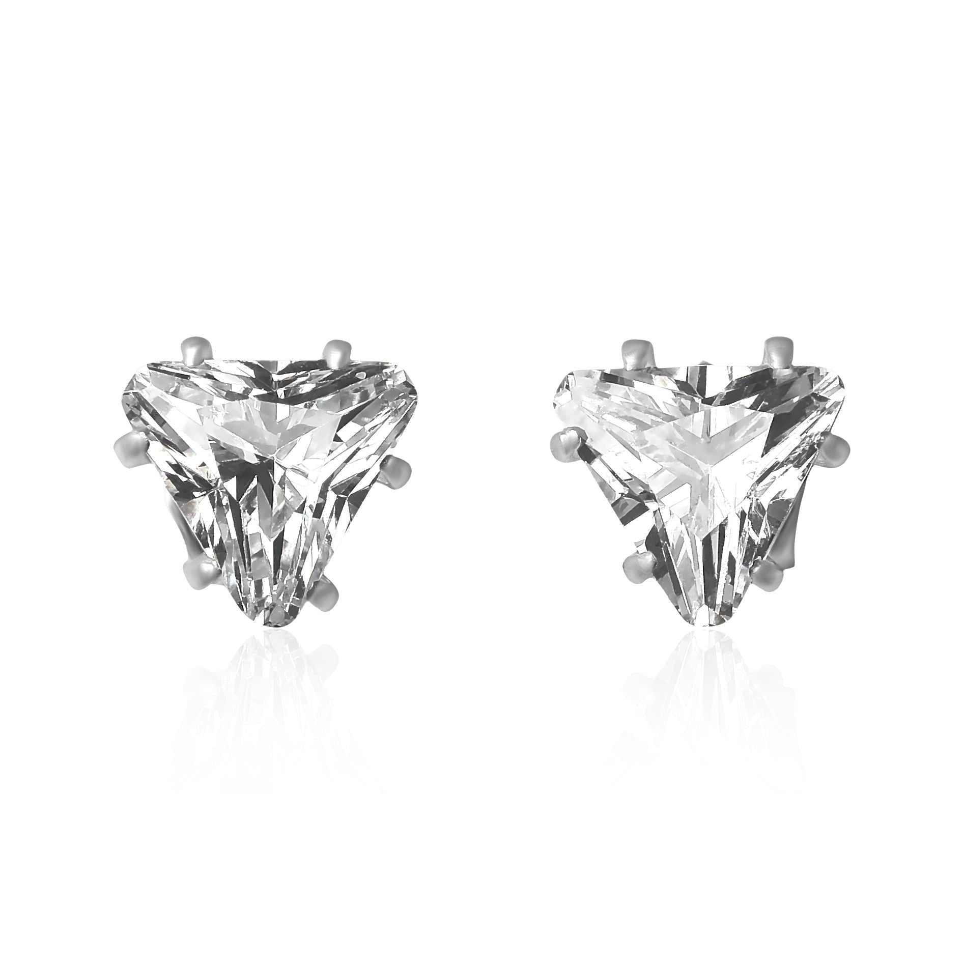 EZ-2300 Triangle CZ Stud Earrings 8mm | Teeda