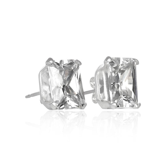 EZ-2370 Emerald Cut CZ Stud Earrings 6x4mm | Teeda