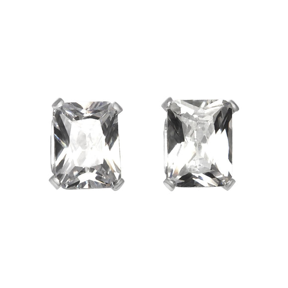 EZ-2390 Emerald Cut CZ Stud Earrings 8x6mm