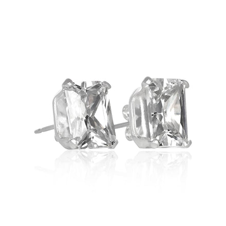 EZ-2390 Emerald Cut CZ Stud Earrings 8x6mm | Teeda