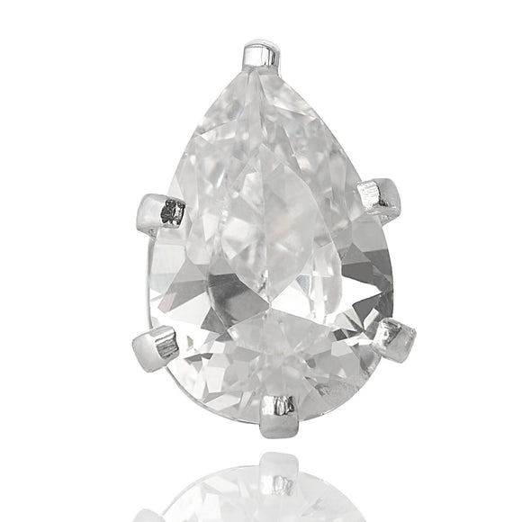 EZ-2420-C Pear CZ Stud Earrings 6X4mm - Clear | Teeda
