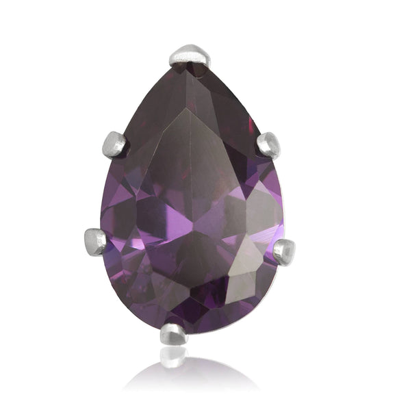 EZ-2450-AM Pear CZ Stud Earrings 9X6mm - Amethyst | Teeda