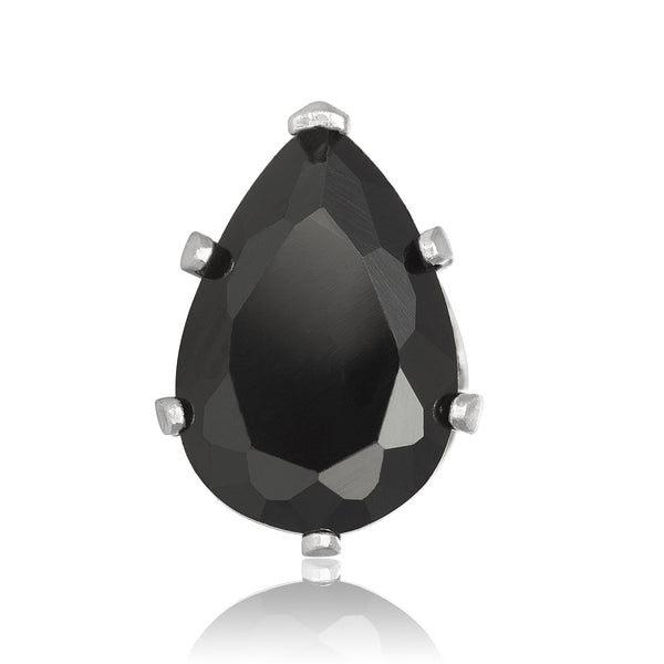 EZ-2450-B Pear CZ Stud Earrings 9X6mm - Black | Teeda