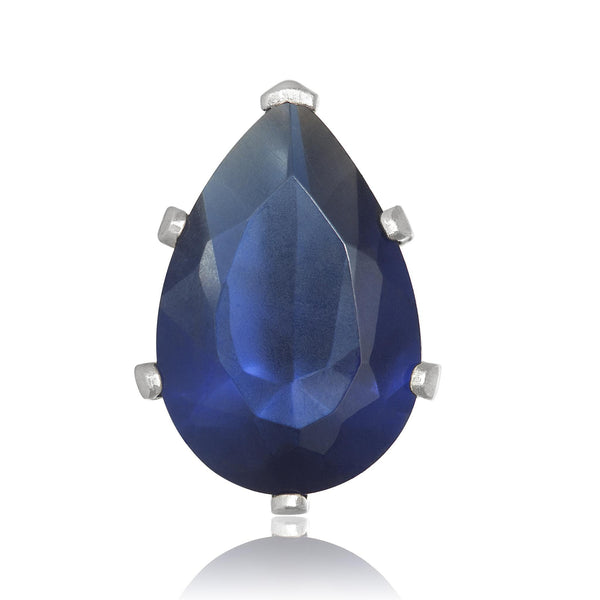 EZ-2450-BS Pear CZ Stud Earrings 9X6mm - Blue Sapphire | Teeda