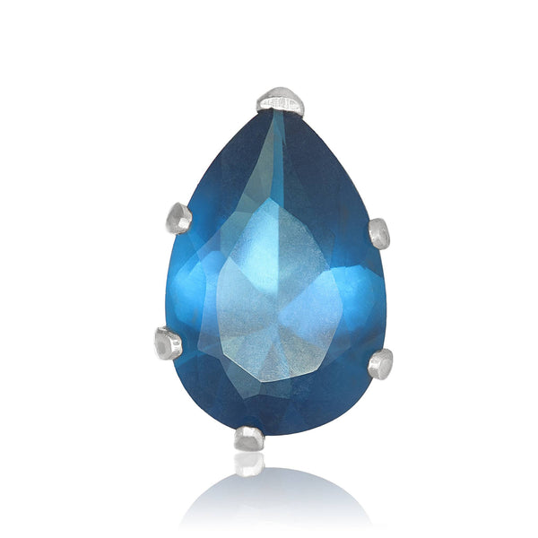 EZ-2450-BZ Pear CZ Stud Earrings 9X6mm - Blue Zircon | Teeda