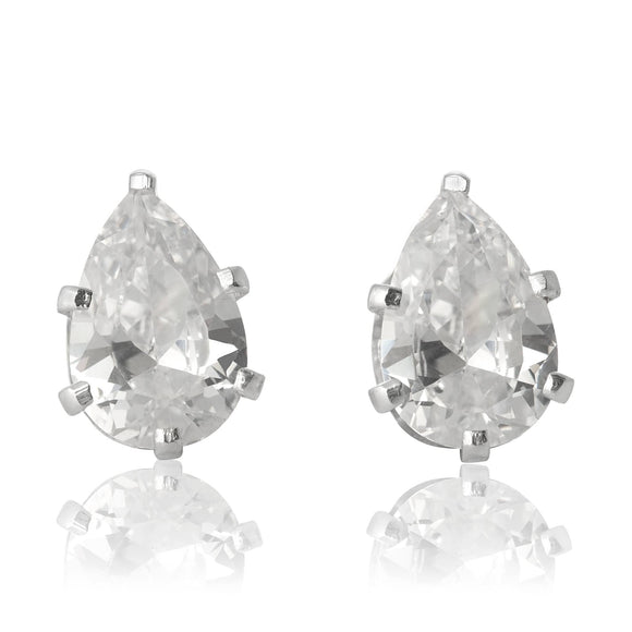 EZ-2450-C Pear CZ Stud Earrings 9X6mm - Clear | Teeda