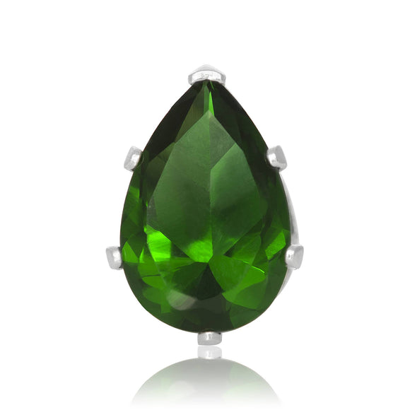 EZ-2450-E Pear CZ Stud Earrings 9X6mm - Emerald | Teeda