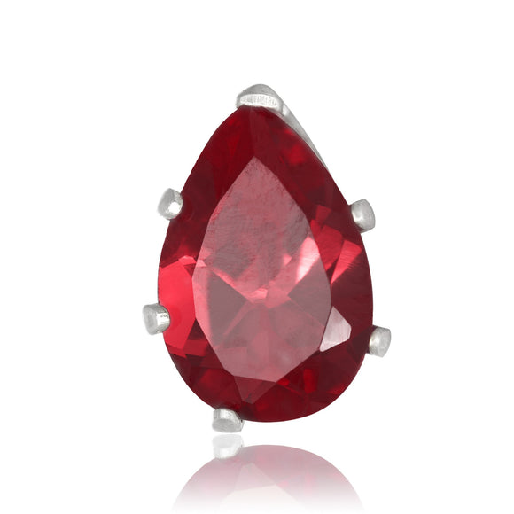 EZ-2450-GG Pear CZ Stud Earrings 9X6mm - Garnet | Teeda