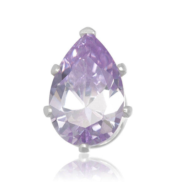 EZ-2450-L Pear CZ Stud Earrings 9X6mm - Lavender | Teeda