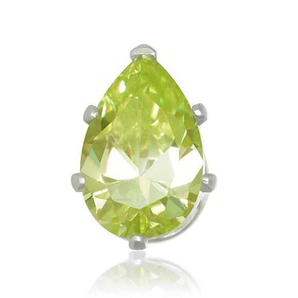 EZ-2450-PE Pear CZ Stud Earrings 9X6mm - Peridot | Teeda