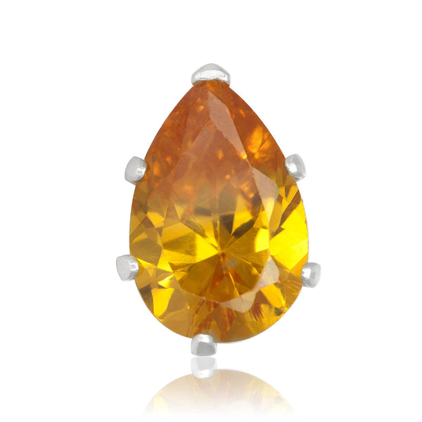 EZ-2450-Y Pear CZ Stud Earrings 9X6mm - Yellow Citrine | Teeda
