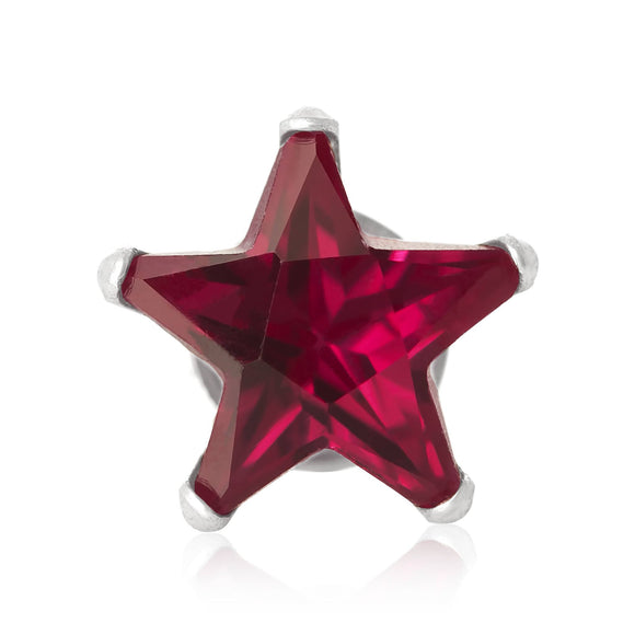 EZ-2470-SR Star CZ Stud Earrings 4mm - Ruby | Teeda