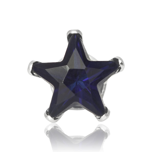 EZ-2480-BS Star CZ Stud Earrings 5mm - Blue Sapphire | Teeda