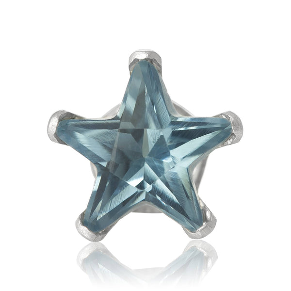 EZ-2490-AQ Star CZ Stud Earrings 6mm - Aqua | Teeda