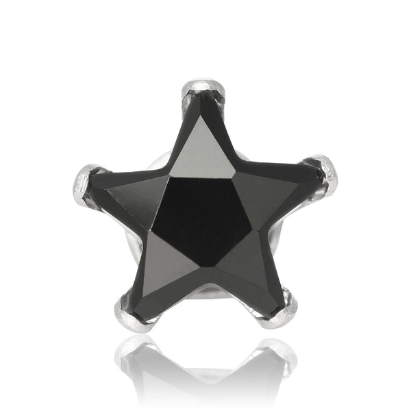 EZ-2490-B Star CZ Stud Earrings 6mm - Black | Teeda