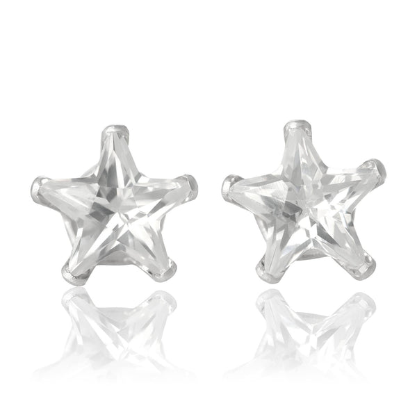 EZ-2490-C Star CZ Stud Earrings 6mm - Clear | Teeda