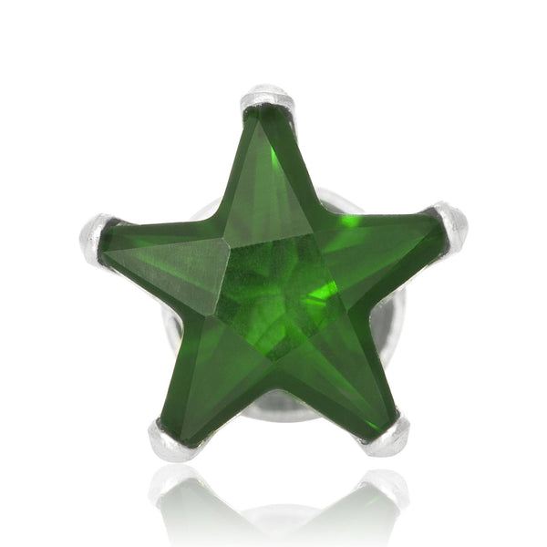 EZ-2490-E Star CZ Stud Earrings 6mm - Emerald | Teeda