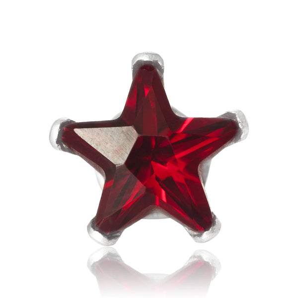 EZ-2490-GG Star CZ Stud Earrings 6mm - Garnet | Teeda