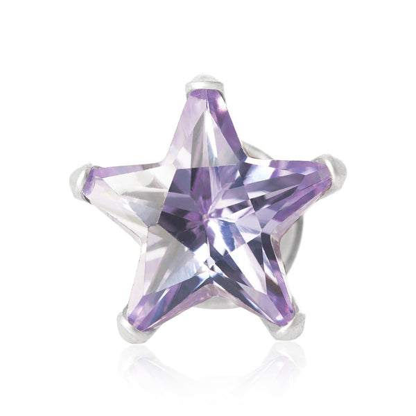 EZ-2490-L Star CZ Stud Earrings 6mm - Lavender | Teeda